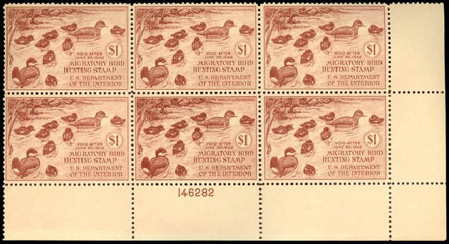Prices of US Stamps Scott Catalog # RW8: US$1.00 1941 Federal Duck Hunting. Daniel Kelleher Auctions, Sep 2013, Sale 639, Lot 3851