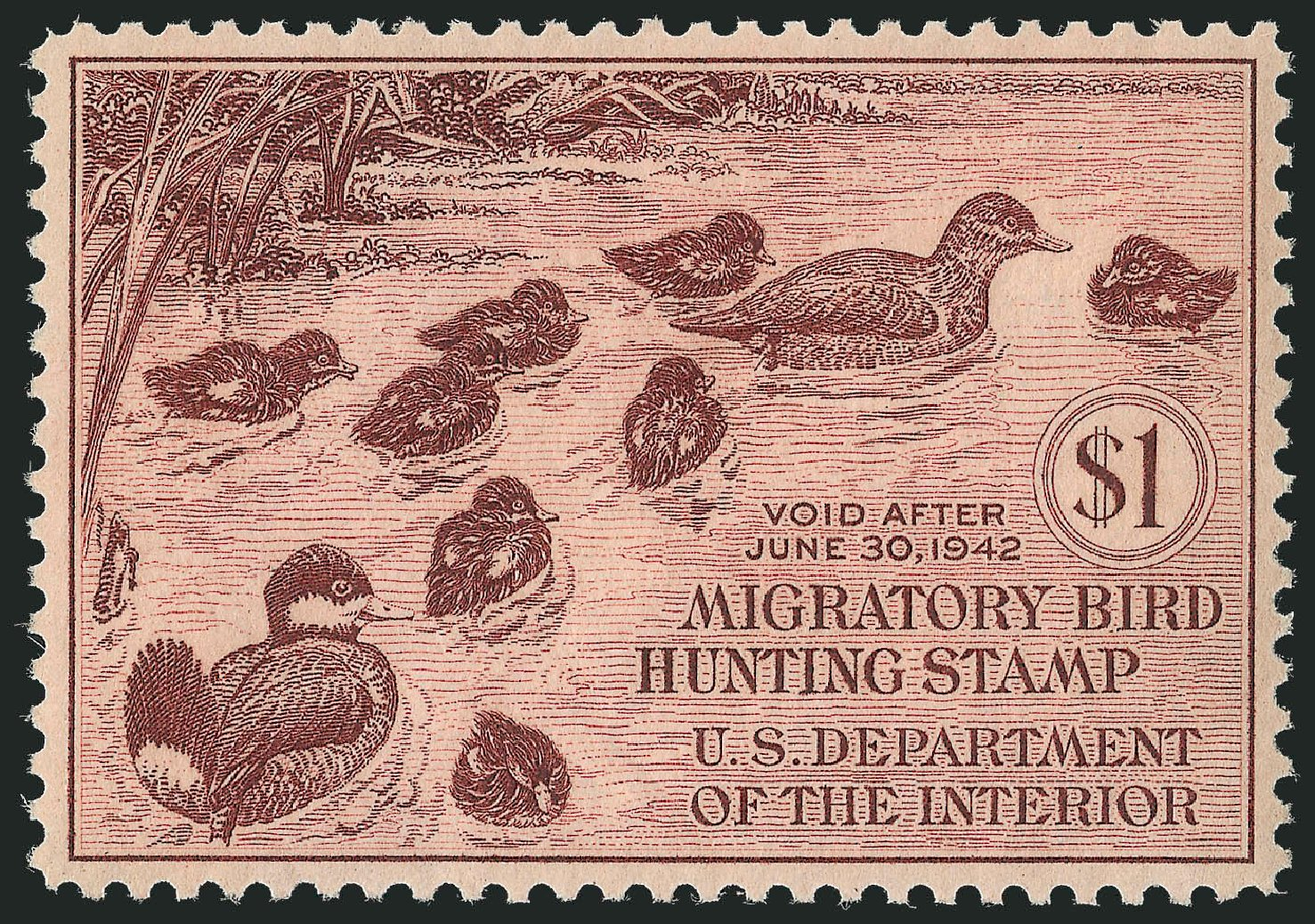 Prices of US Stamps Scott Cat. # RW8 - 1941 US$1.00 Federal Duck Hunting. Robert Siegel Auction Galleries, Mar 2013, Sale 1040, Lot 2244