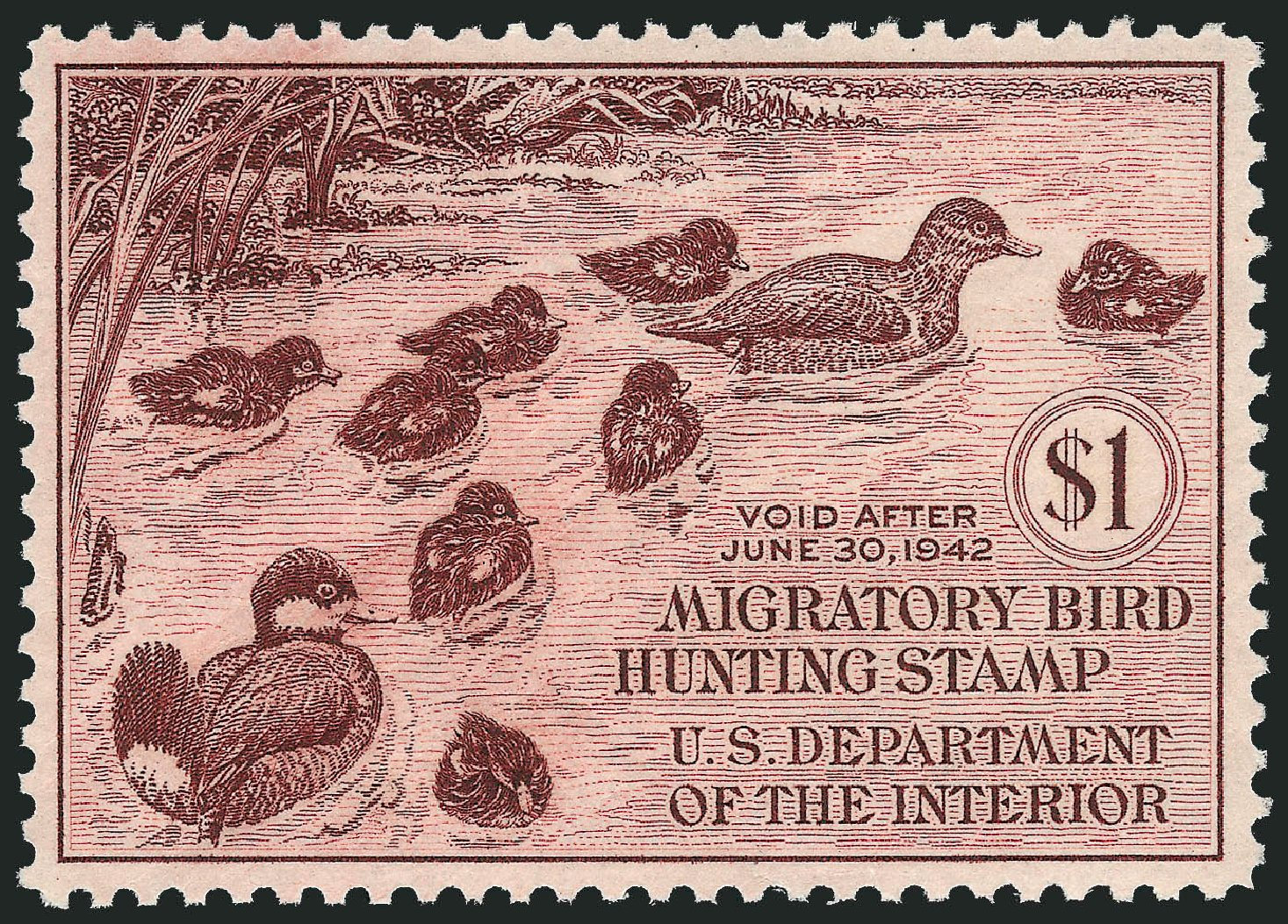 Price of US Stamps Scott Cat. #RW8: 1941 US$1.00 Federal Duck Hunting. Robert Siegel Auction Galleries, Mar 2014, Sale 1067, Lot 754