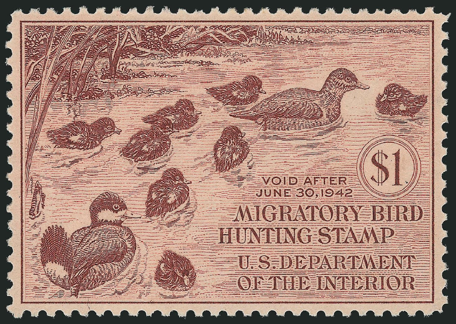 Costs of US Stamps Scott Cat. #RW8 - US$1.00 1941 Federal Duck Hunting. Robert Siegel Auction Galleries, Oct 2014, Sale 1082, Lot 545