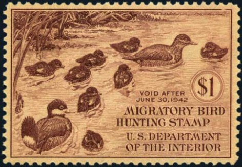 Value of US Stamps Scott Cat. # RW8 - 1941 US$1.00 Federal Duck Hunting. Harmer-Schau Auction Galleries, Aug 2012, Sale 94, Lot 2002