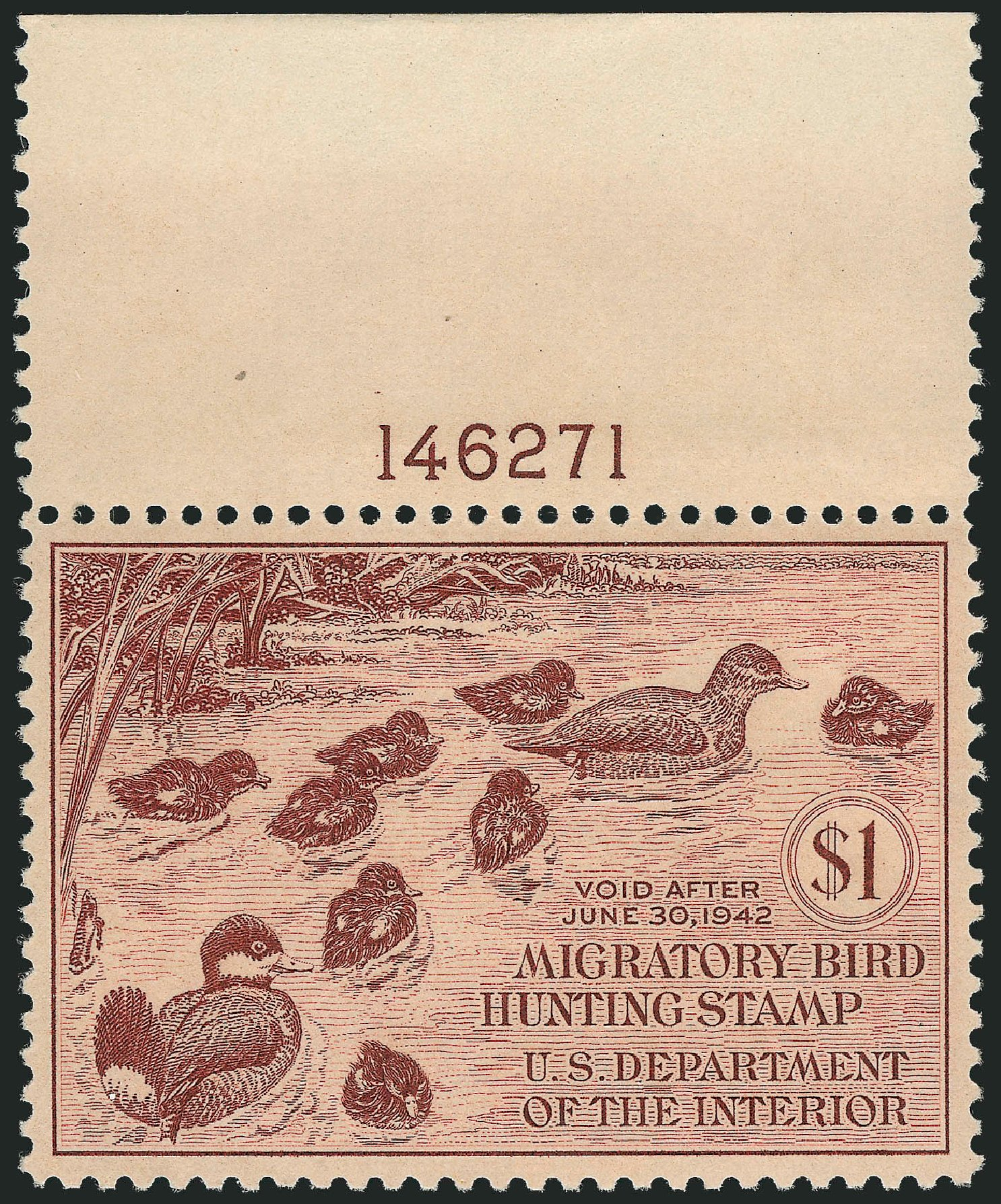 US Stamp Prices Scott RW8: 1941 US$1.00 Federal Duck Hunting. Robert Siegel Auction Galleries, Jun 2012, Sale 1026, Lot 1593