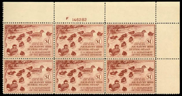Costs of US Stamp Scott Catalog #RW8 - US$1.00 1941 Federal Duck Hunting. Daniel Kelleher Auctions, May 2014, Sale 653, Lot 2496