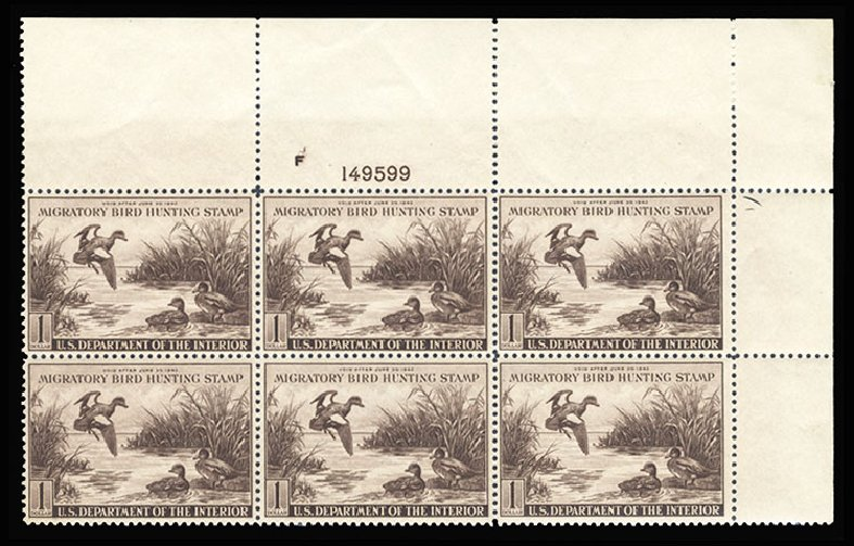 Costs of US Stamps Scott Catalogue #RW9 - US$1.00 1942 Federal Duck Hunting. Cherrystone Auctions, May 2015, Sale 201505, Lot 87
