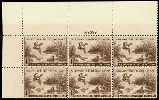 Costs of US Stamps Scott Catalogue # RW9 - US$1.00 1942 Federal Duck Hunting. Daniel Kelleher Auctions, May 2014, Sale 653, Lot 2497