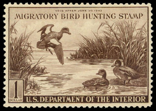 US Stamp Prices Scott Catalog # RW9: 1942 US$1.00 Federal Duck Hunting. Daniel Kelleher Auctions, May 2014, Sale 653, Lot 2349