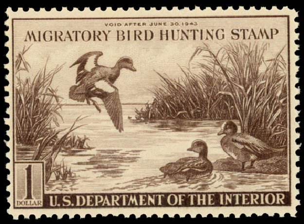 US Stamp Value Scott RW9 - US$1.00 1942 Federal Duck Hunting. Daniel Kelleher Auctions, Aug 2015, Sale 672, Lot 3109