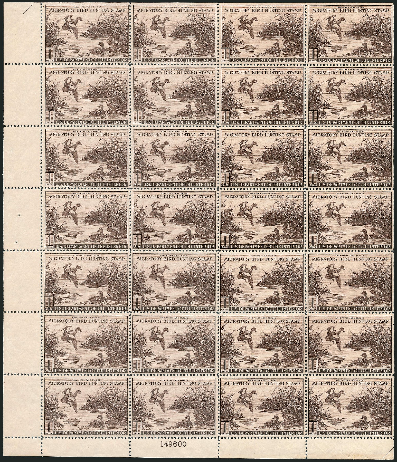US Stamp Prices Scott Catalog #RW9: 1942 US$1.00 Federal Duck Hunting. Robert Siegel Auction Galleries, Apr 2014, Sale 1068, Lot 450