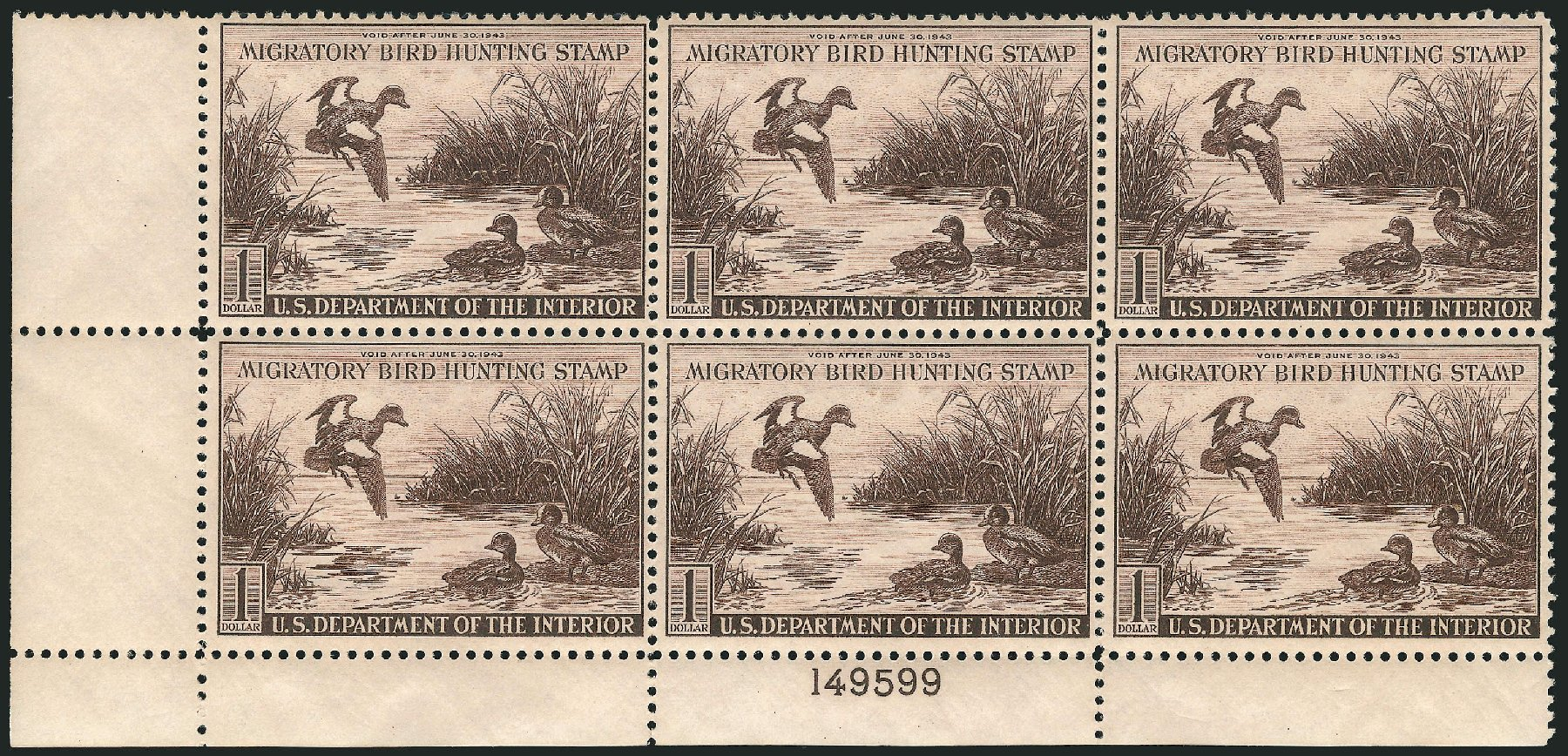 US Stamp Value Scott Catalogue # RW9 - US$1.00 1942 Federal Duck Hunting. Robert Siegel Auction Galleries, Apr 2015, Sale 1096, Lot 1040