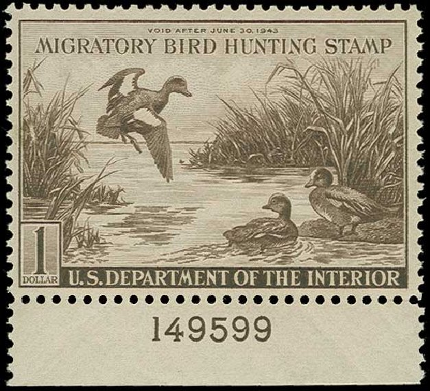 Prices of US Stamps Scott #RW9 - US$1.00 1942 Federal Duck Hunting. H.R. Harmer, Jun 2015, Sale 3007, Lot 3595