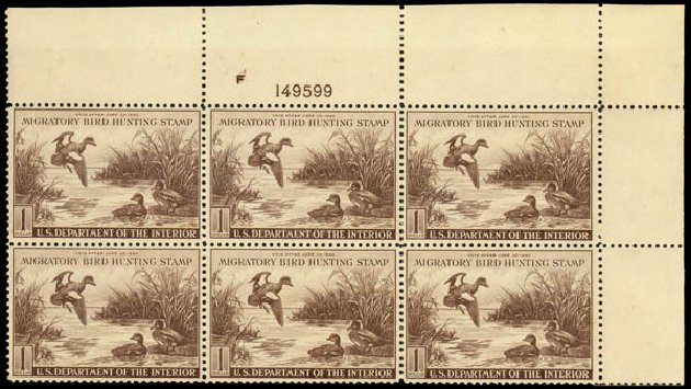 US Stamp Value Scott Catalogue RW9: 1942 US$1.00 Federal Duck Hunting. Daniel Kelleher Auctions, Dec 2013, Sale 640, Lot 795