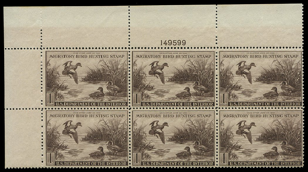 Prices of US Stamp Scott Cat. #RW9: US$1.00 1942 Federal Duck Hunting. Regency-Superior, Aug 2015, Sale 112, Lot 1465