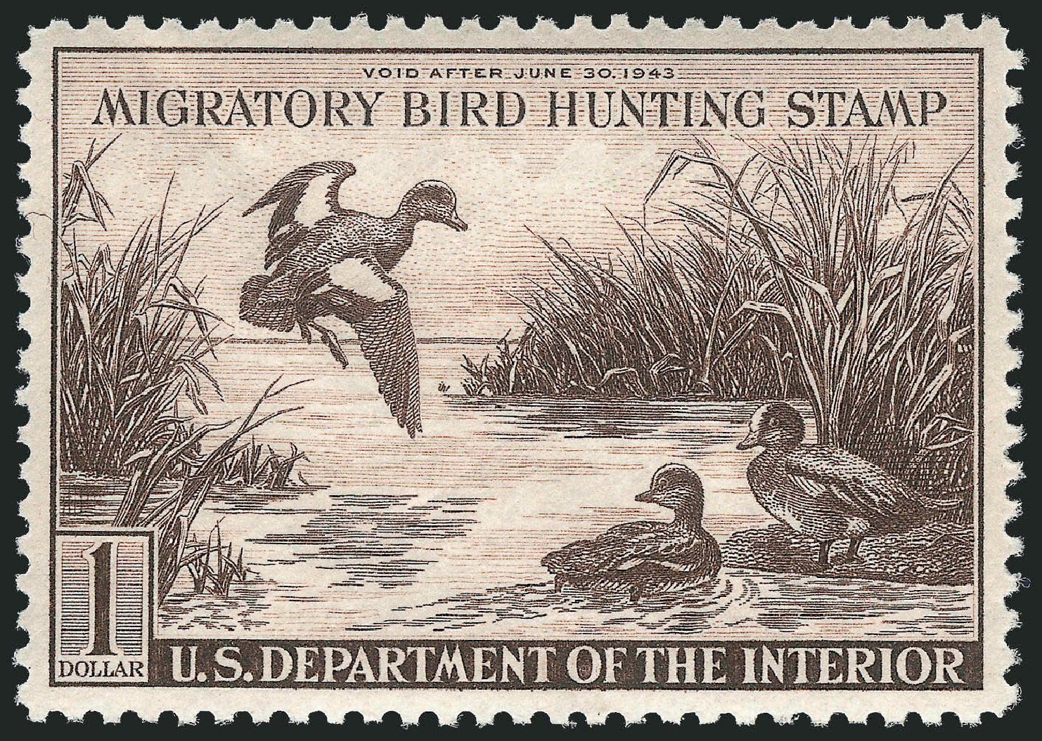Price of US Stamps Scott Catalog RW9: 1942 US$1.00 Federal Duck Hunting. Robert Siegel Auction Galleries, Mar 2013, Sale 1040, Lot 2245
