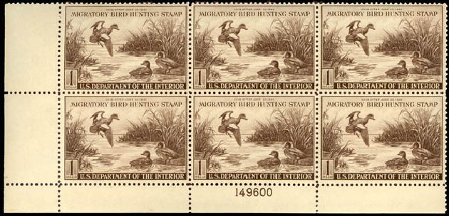 US Stamp Value Scott Cat. RW9 - 1942 US$1.00 Federal Duck Hunting. Daniel Kelleher Auctions, Sep 2013, Sale 639, Lot 3852