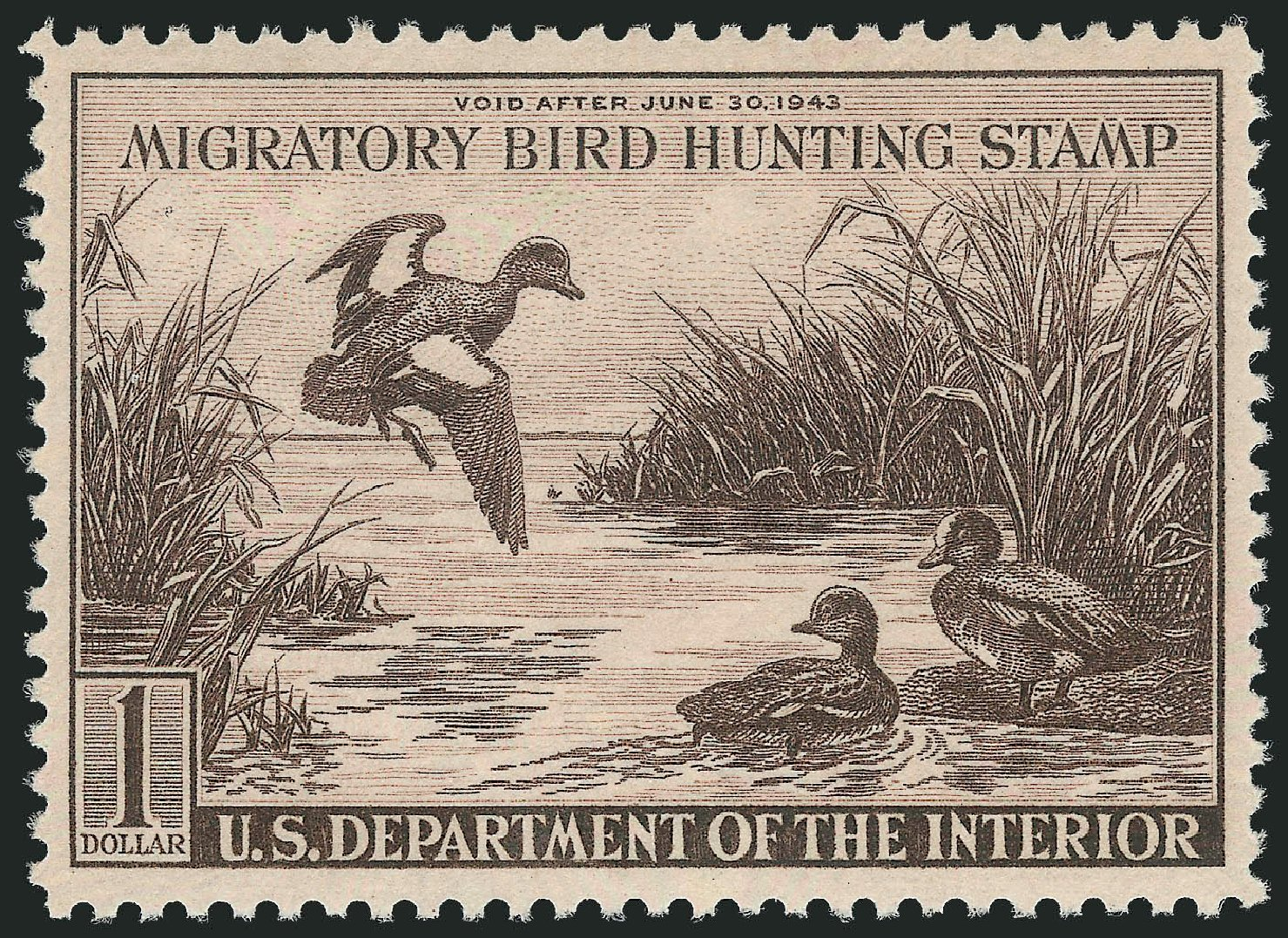 US Stamp Value Scott Cat. # RW9: 1942 US$1.00 Federal Duck Hunting. Robert Siegel Auction Galleries, Jul 2013, Sale 1050, Lot 842